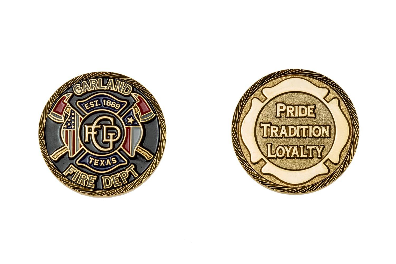 Metal fire department coins