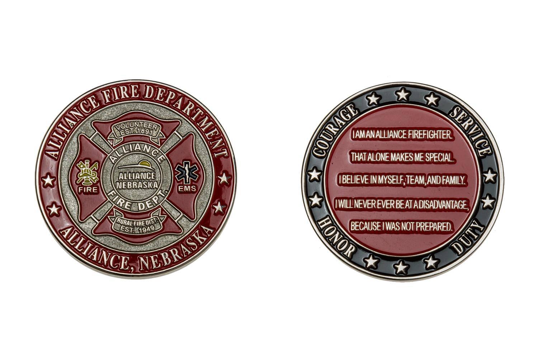Metal fire department coin