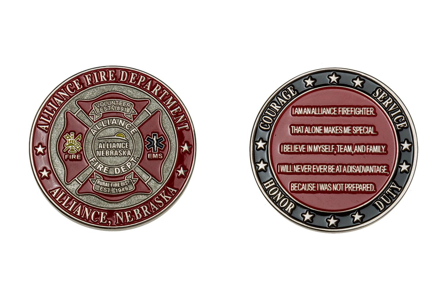 Metal fire department coin