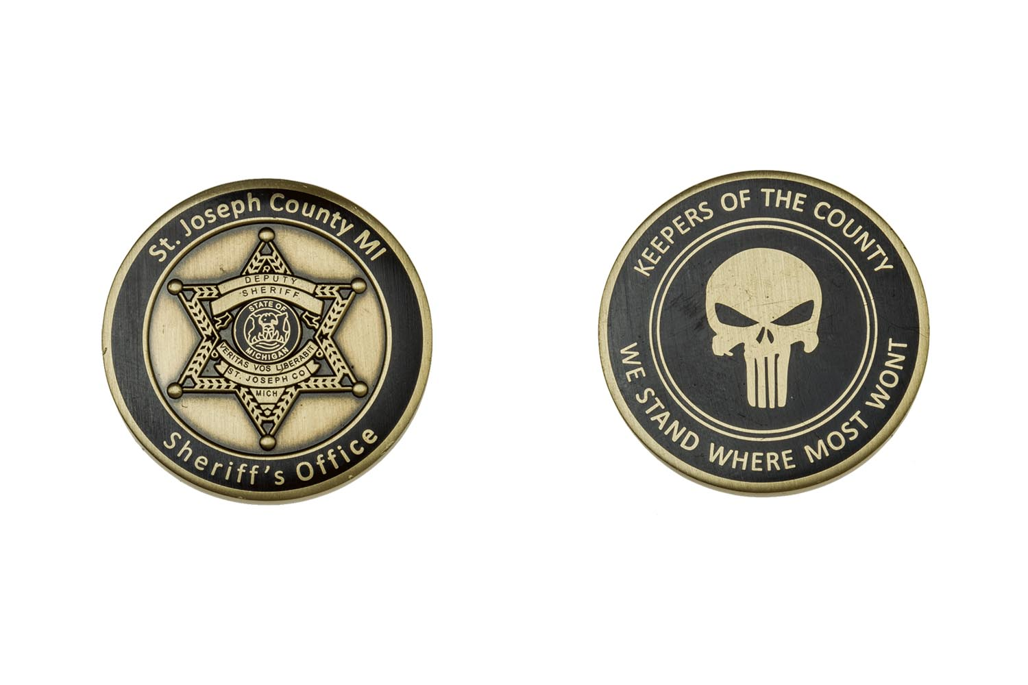 E17223 st joseph county sheriffs dept the emblem authority for Military coin design template