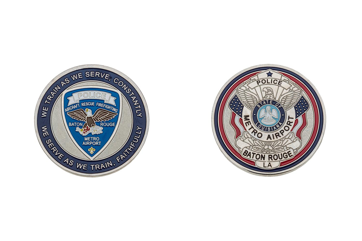 Metal airport police coins