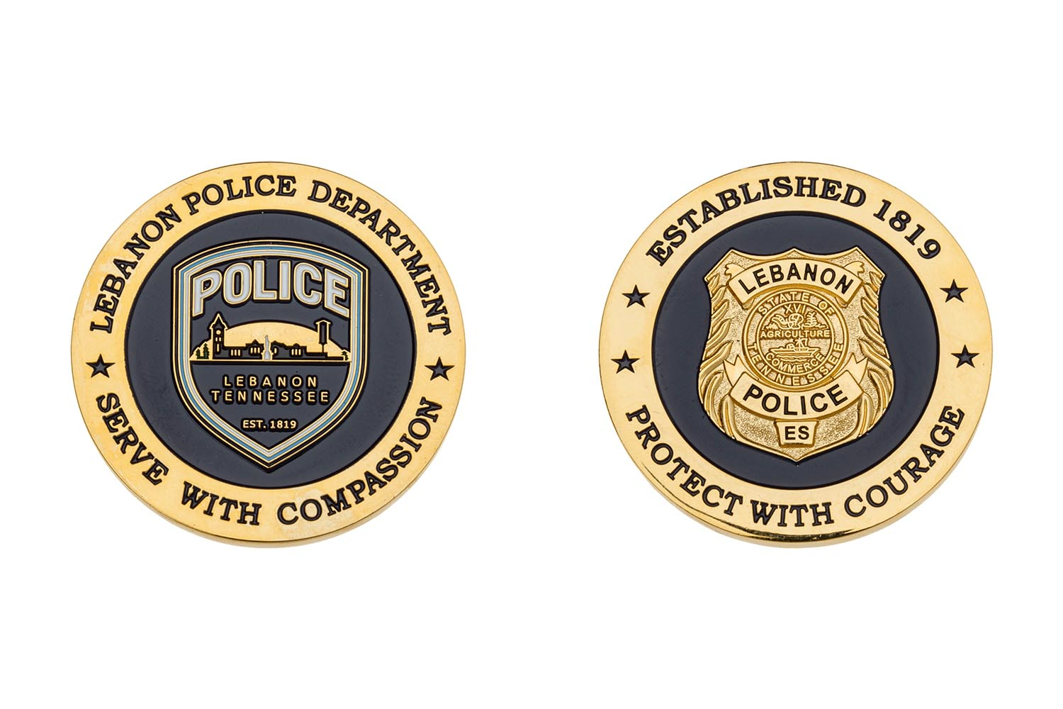 Custom police metal coins