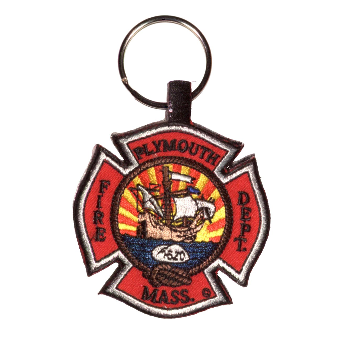 Fire department embroidered key fob