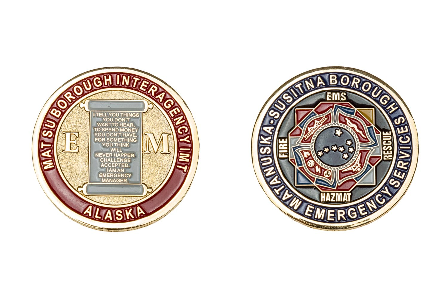 Custom metal EMS coins