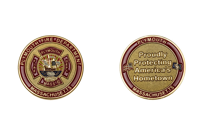 Custom metal fire department coins