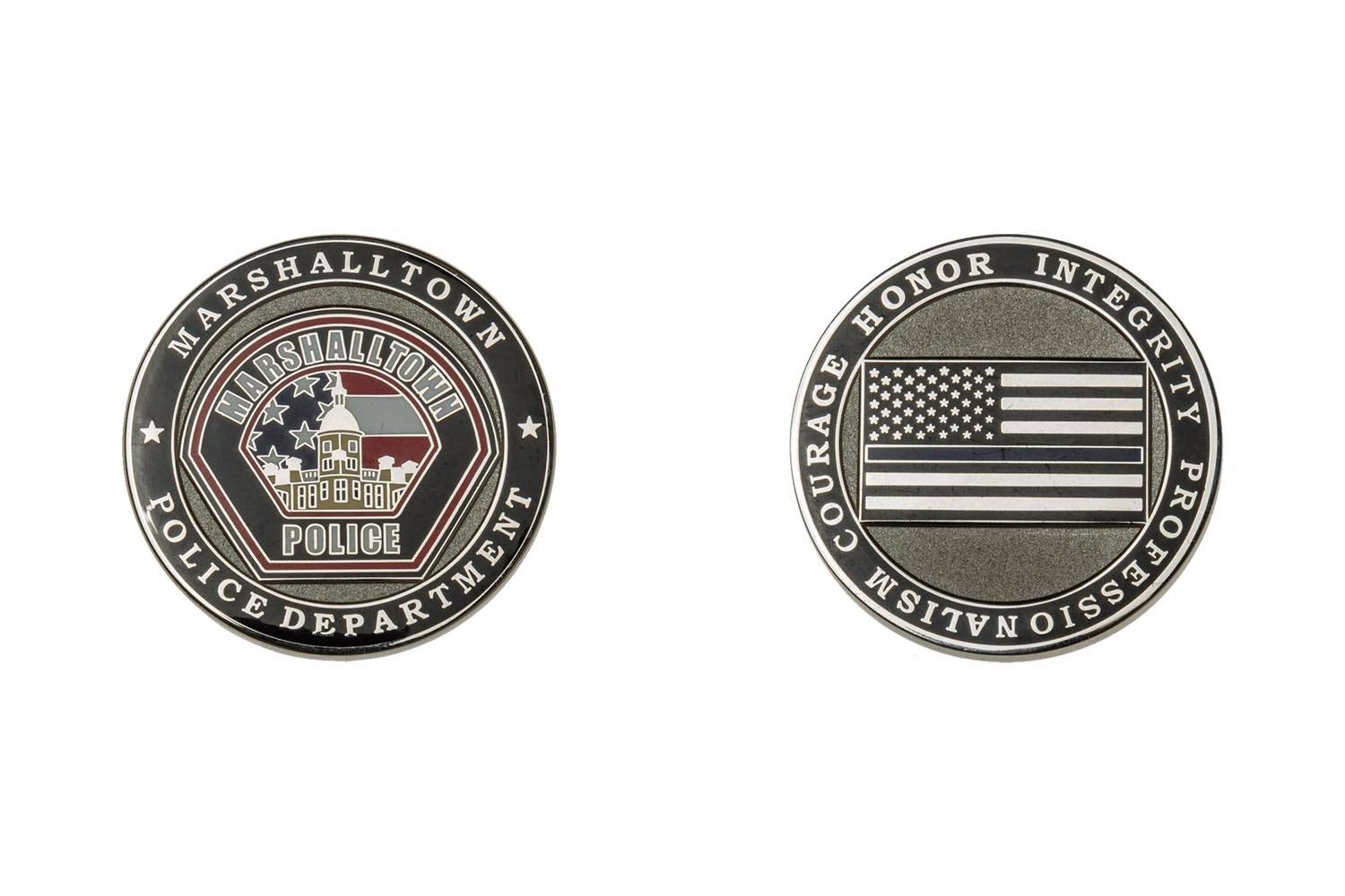 Metal police coins