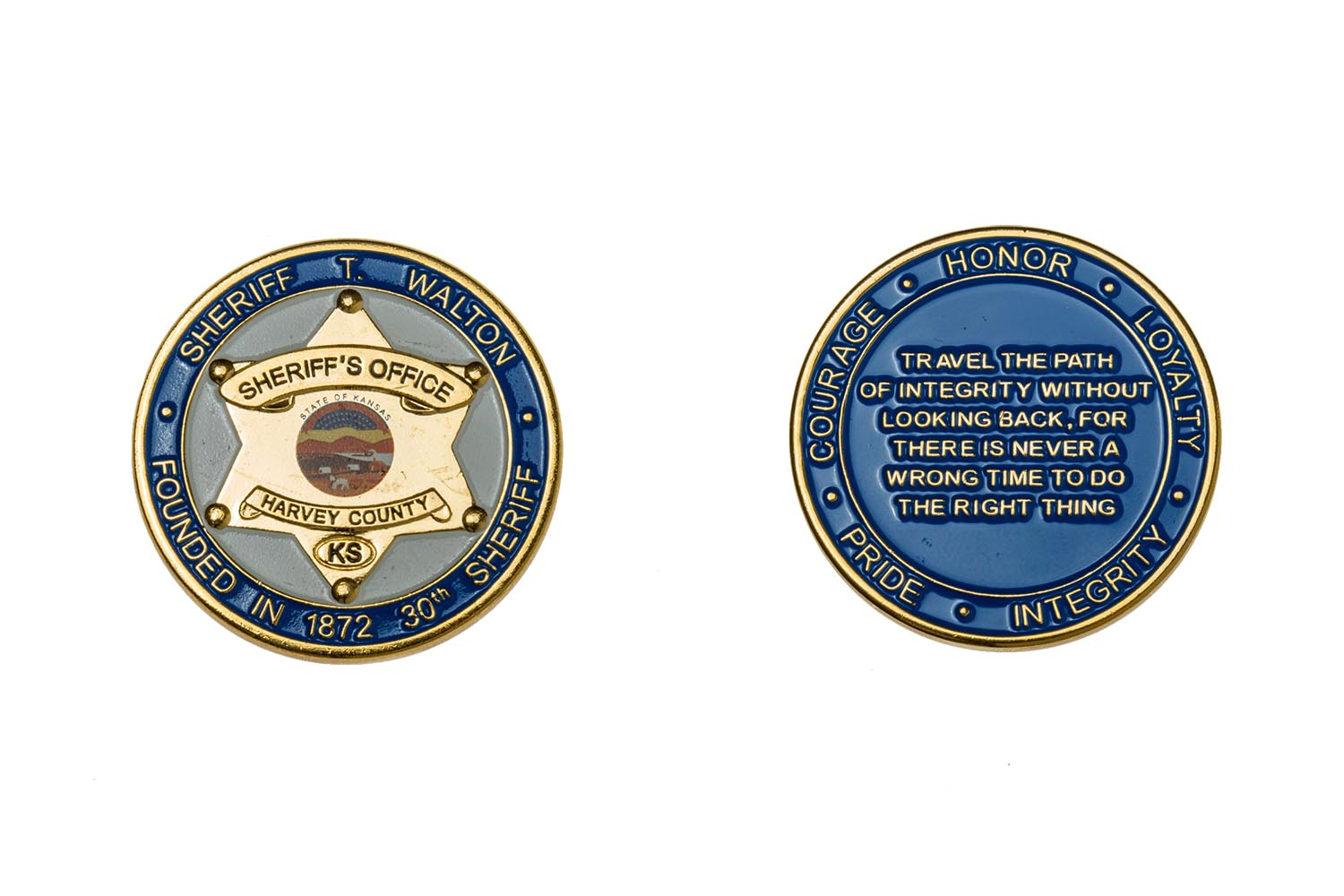 Custom metal sheriff's coins