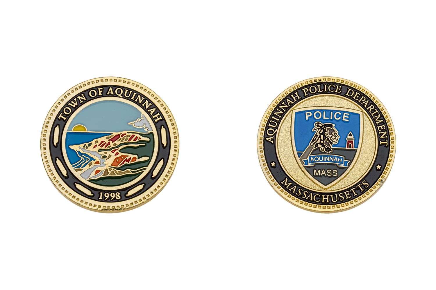 E12552 aquinnah police the emblem authority for Military coin design template
