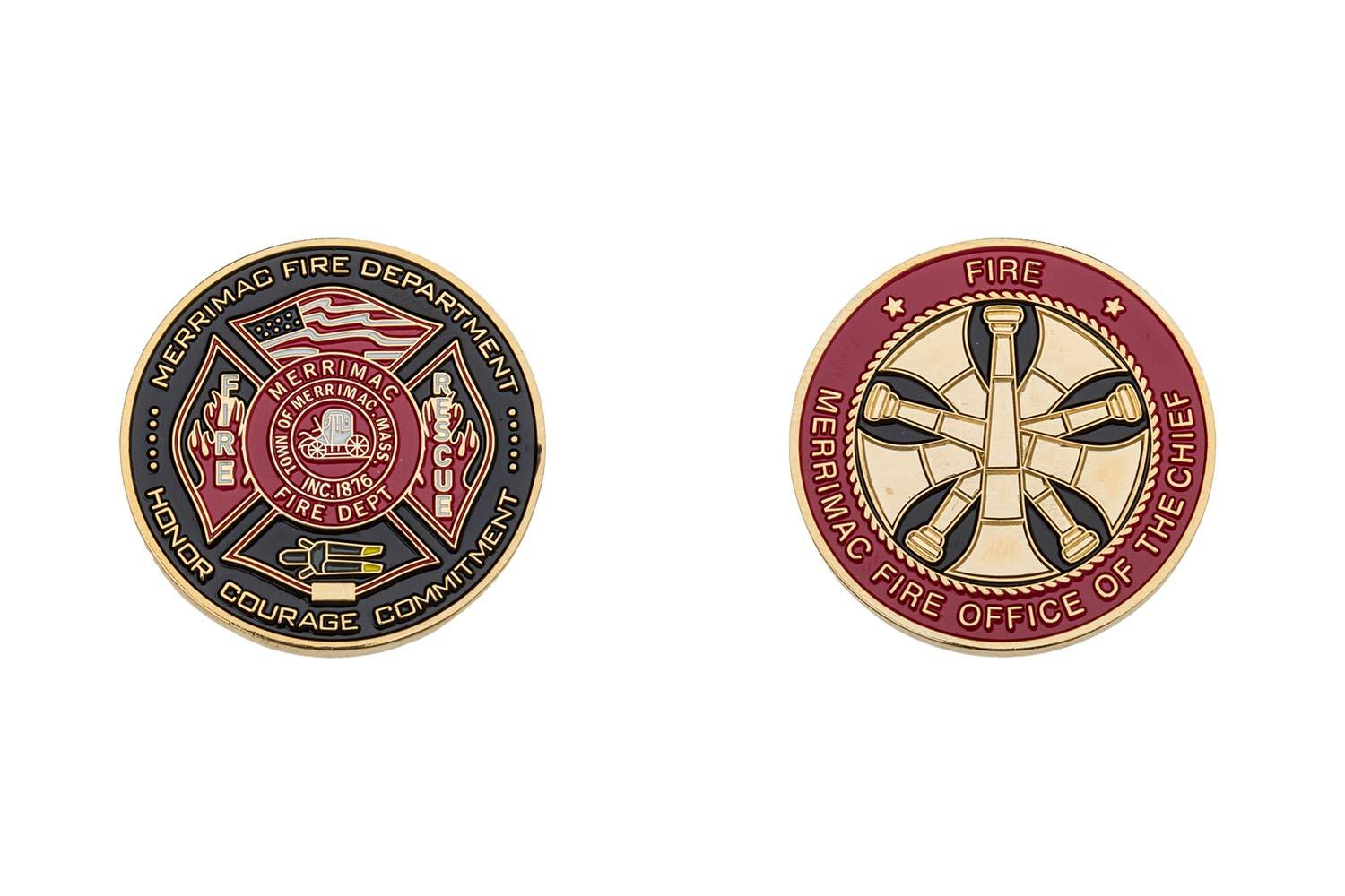 Metal fire department coins