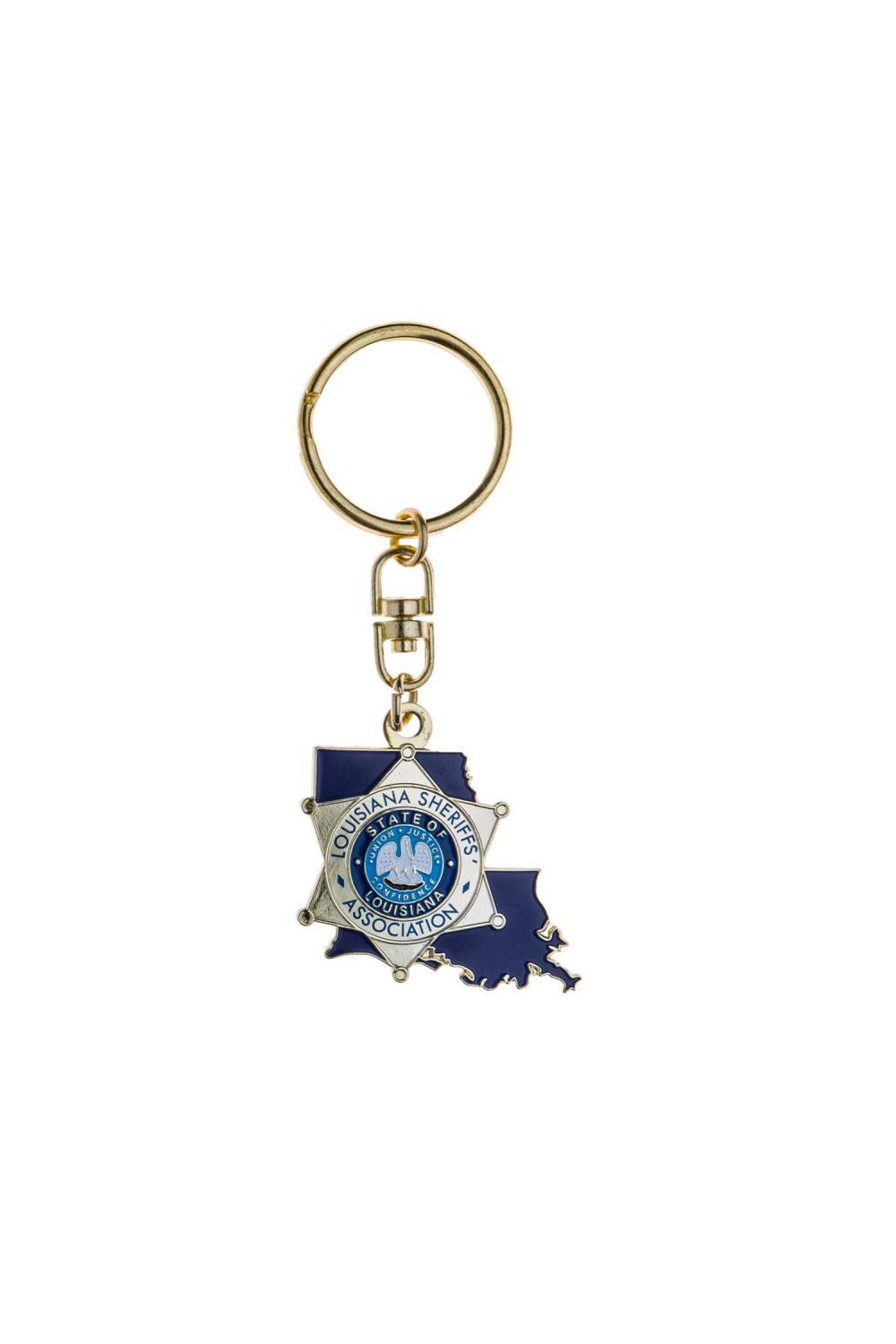 Metal sheriff's badge keychain