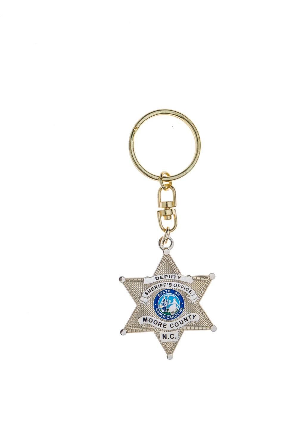 Sheriff's badge metal keychain
