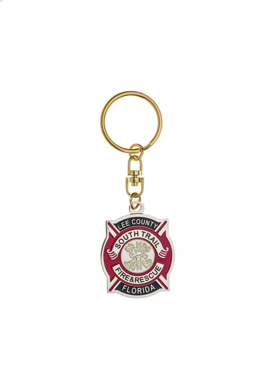 Fire department metal keychain