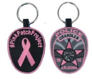 Pink Police Embroidered Key Fob