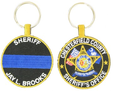 Police embroidered key fob